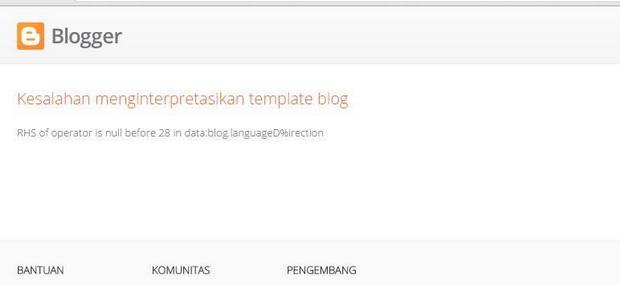Error - Kesalahan Menginterpretasikan Template Blog